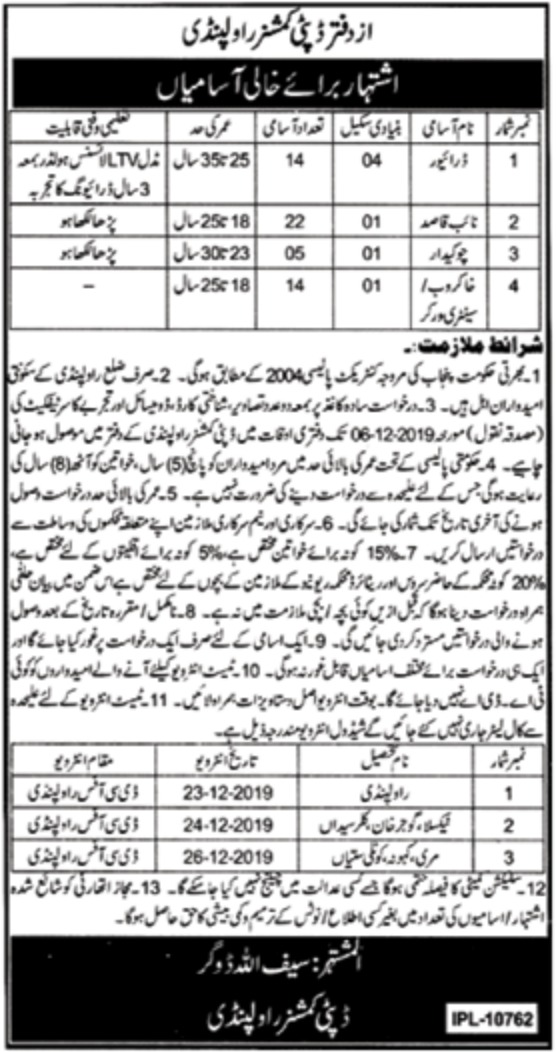 Deputy Commissioner Office Rawalpindi Jobs 2019