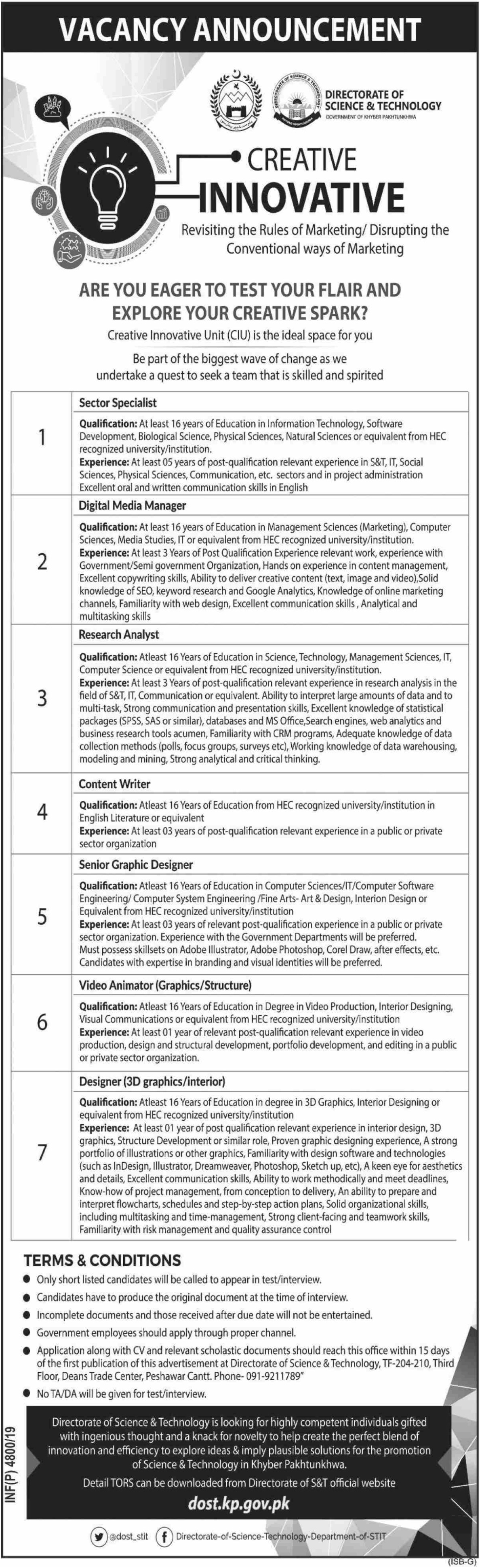 Directorate of Science & Technology KPK Jobs 2019 Government of Khyber Pakhtunkhwa