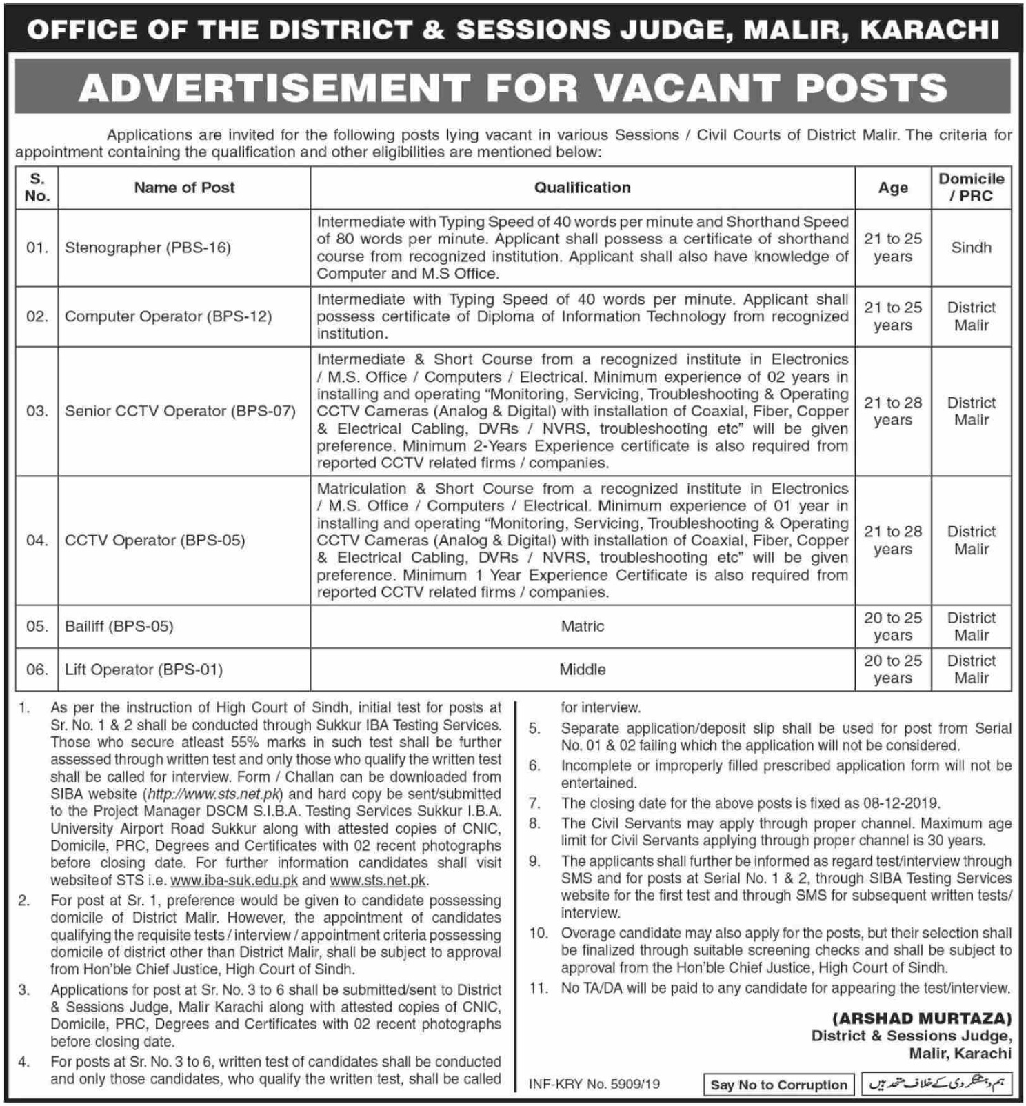 District & Session Court Malir Karachi Jobs 2019