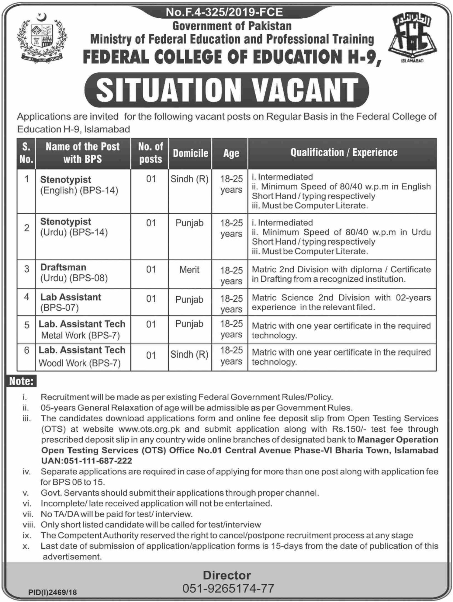 Federal College of Education Islamabad Jobs 2019 Apply through OTS