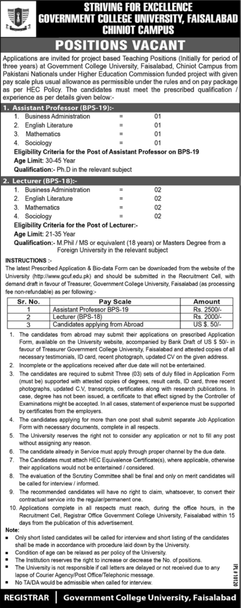 Government College University Faisalabad Jobs 2019 GCUF Chiniot