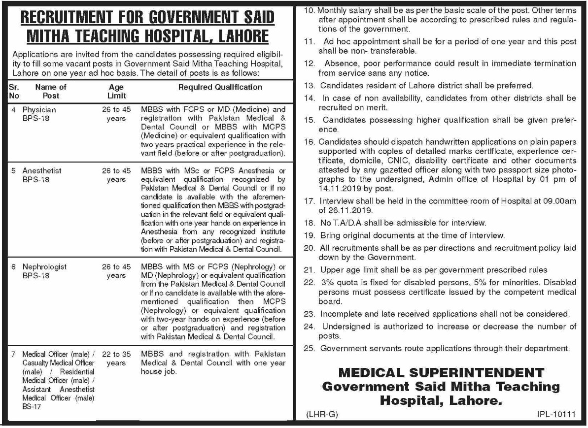 Government Said Mitha Teaching Hospital Lahore Jobs 2019