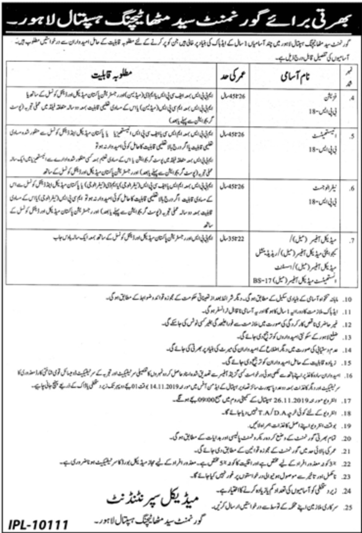 Government Syed Mitha Teaching Hospital Lahore Jobs 2019