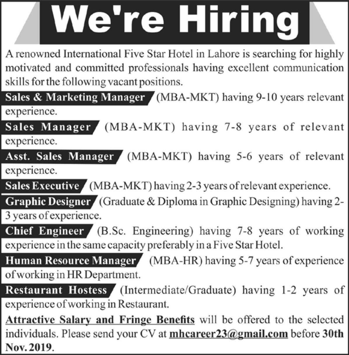 International Five Star Hotel Lahore Jobs 2019