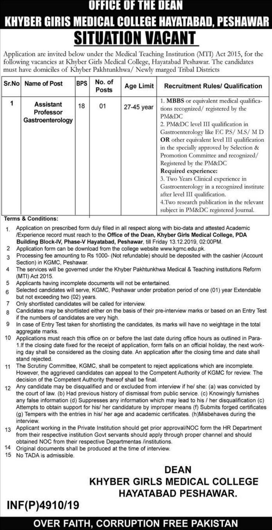 KGMC Hayatabad Peshawar Jobs 2019 Khyber Girls Medical College