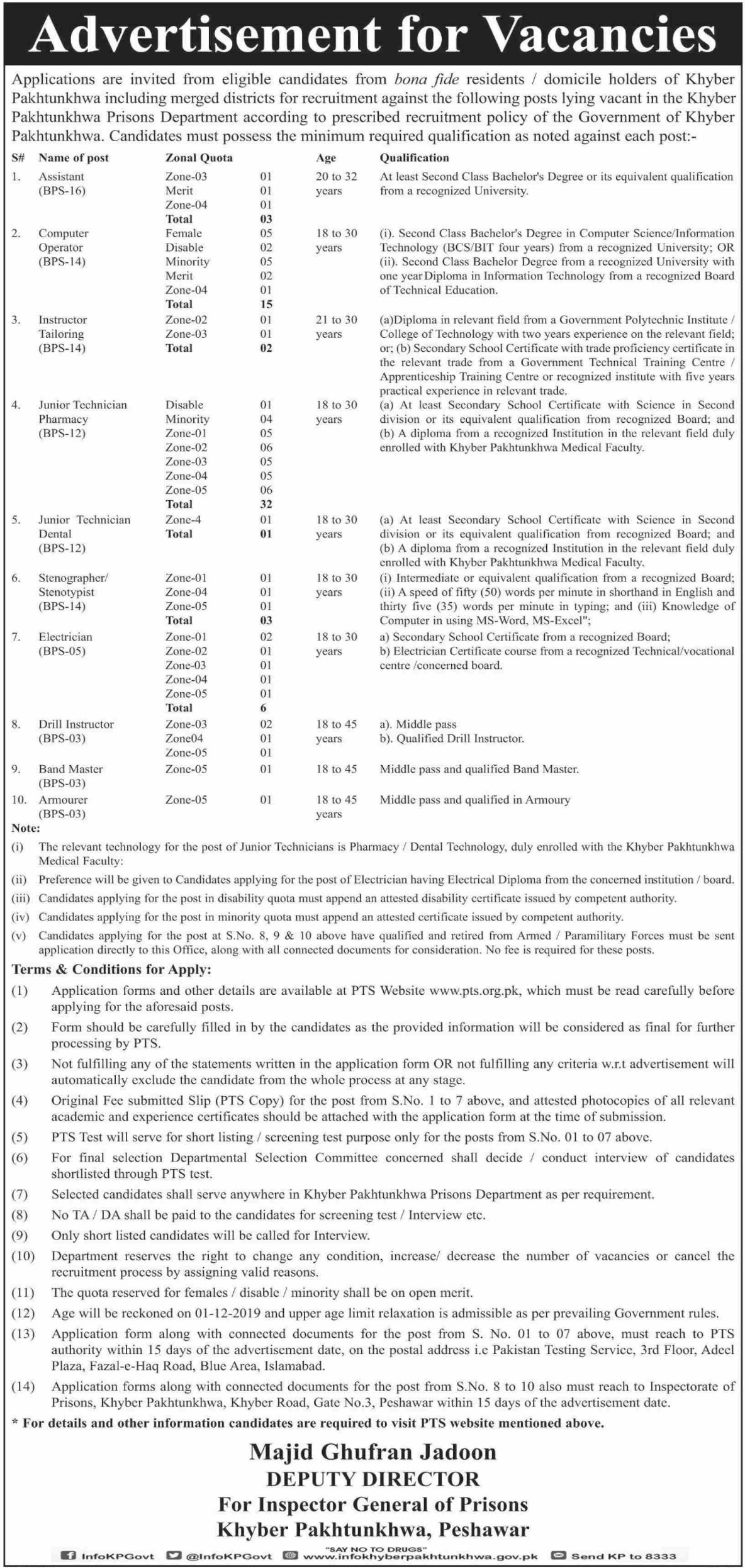 KPK Prison Department PTS Jobs 2019