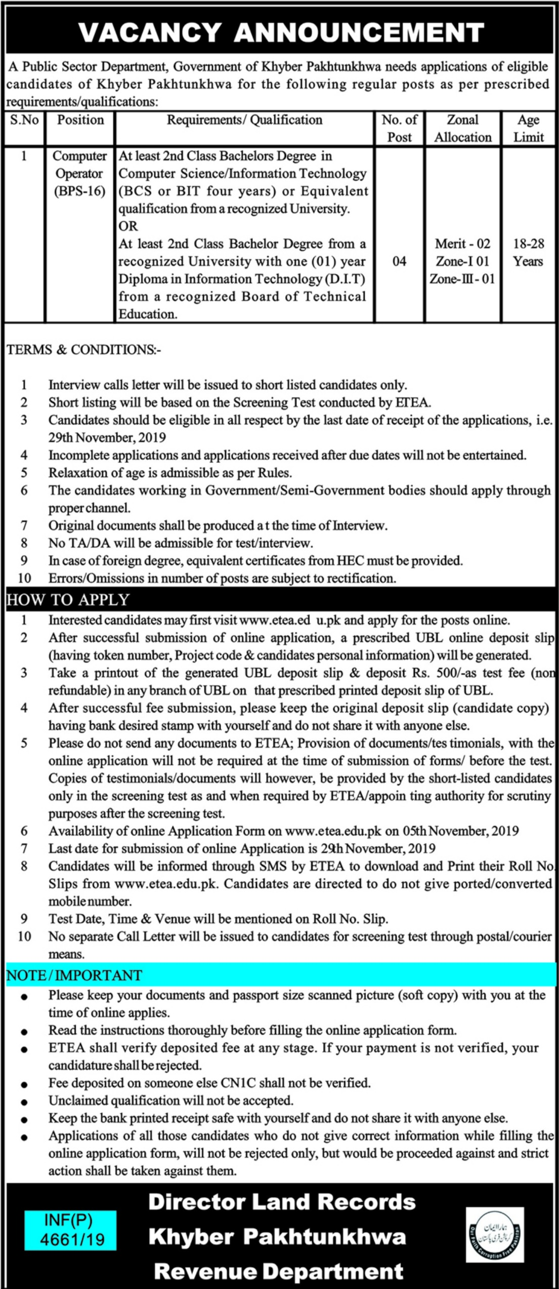 Khyber Pakhtunkhwa Revenue Department Jobs 2019