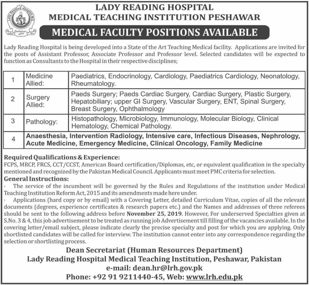Lady Reading Hospital MTI Peshawar Jobs 2019