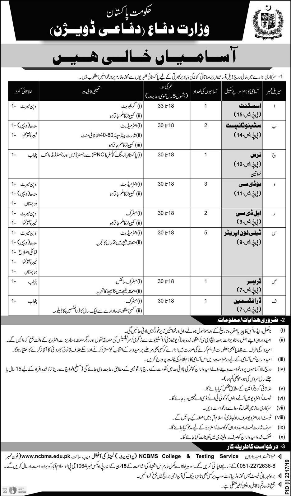 Ministry of Defence Jobs 2019 Pakistan