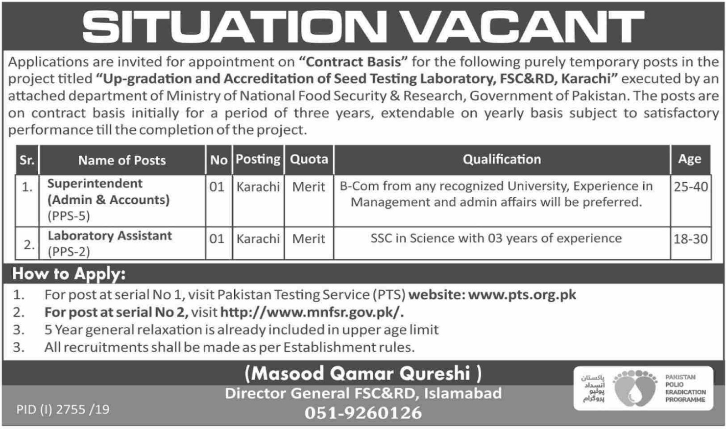 Ministry of National Food Security & Research Jobs 2019