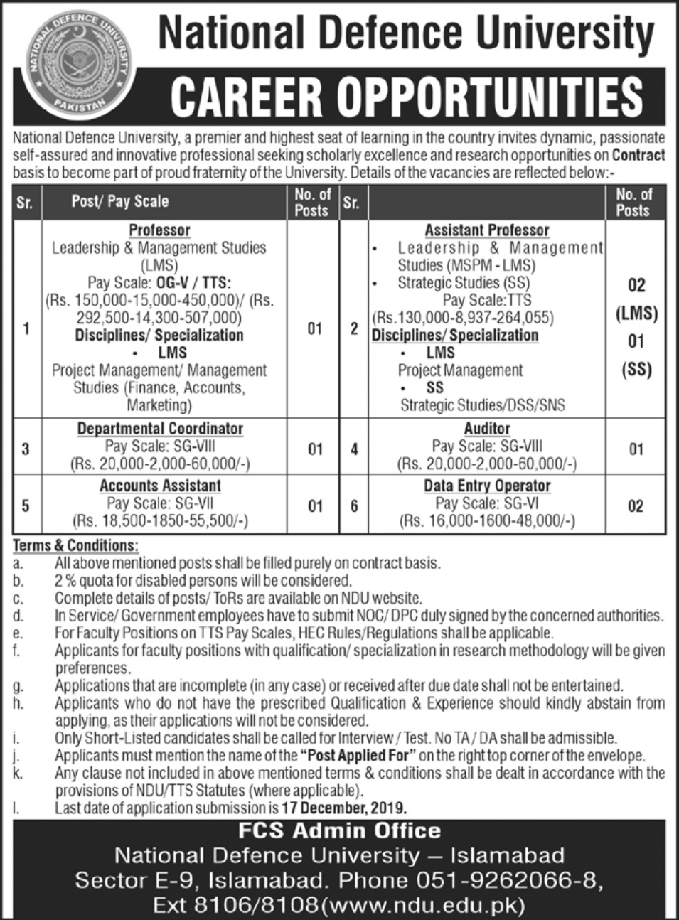 National Defence University Islamabad Jobs 2019
