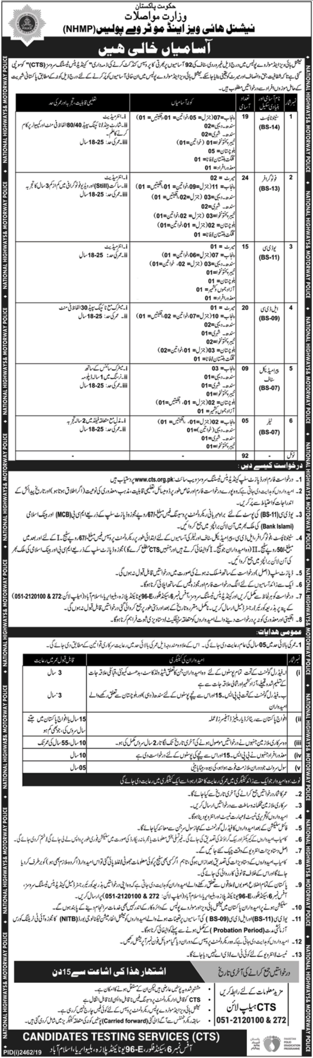 National Highways & Motorway Police NHMP Jobs 2019 Apply through CTS