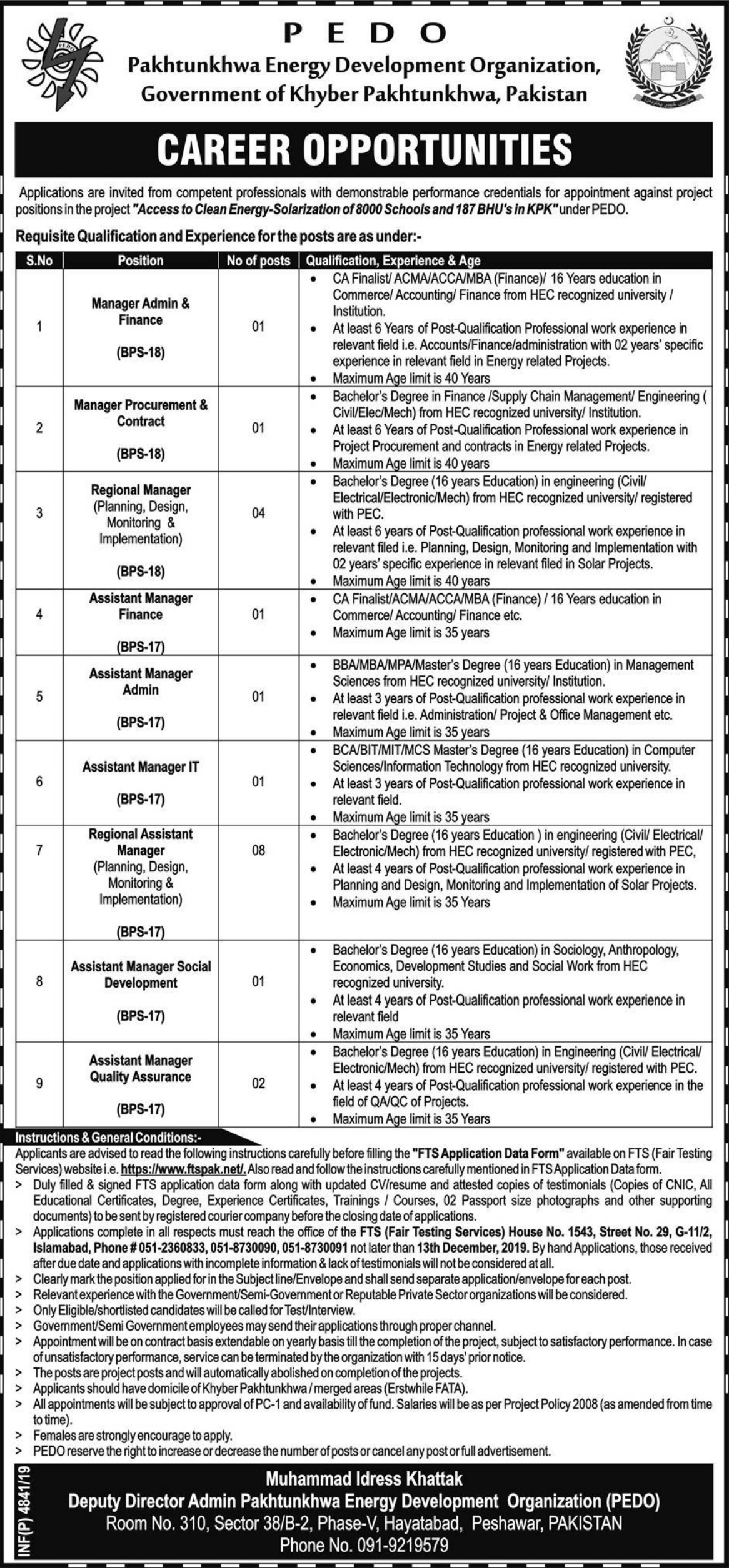 PEDO Jobs 2019 Pakhtunkhwa Energy Development Organization