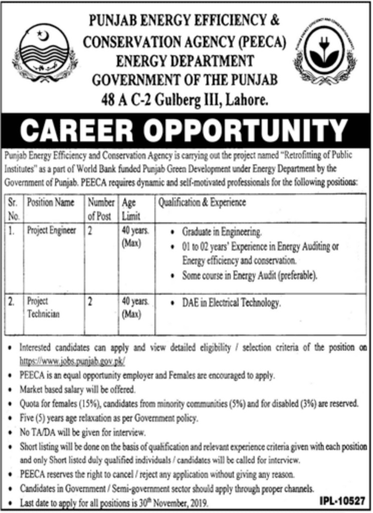 PEECA Jobs Punjab Energy Efficiency & Conservation Agency