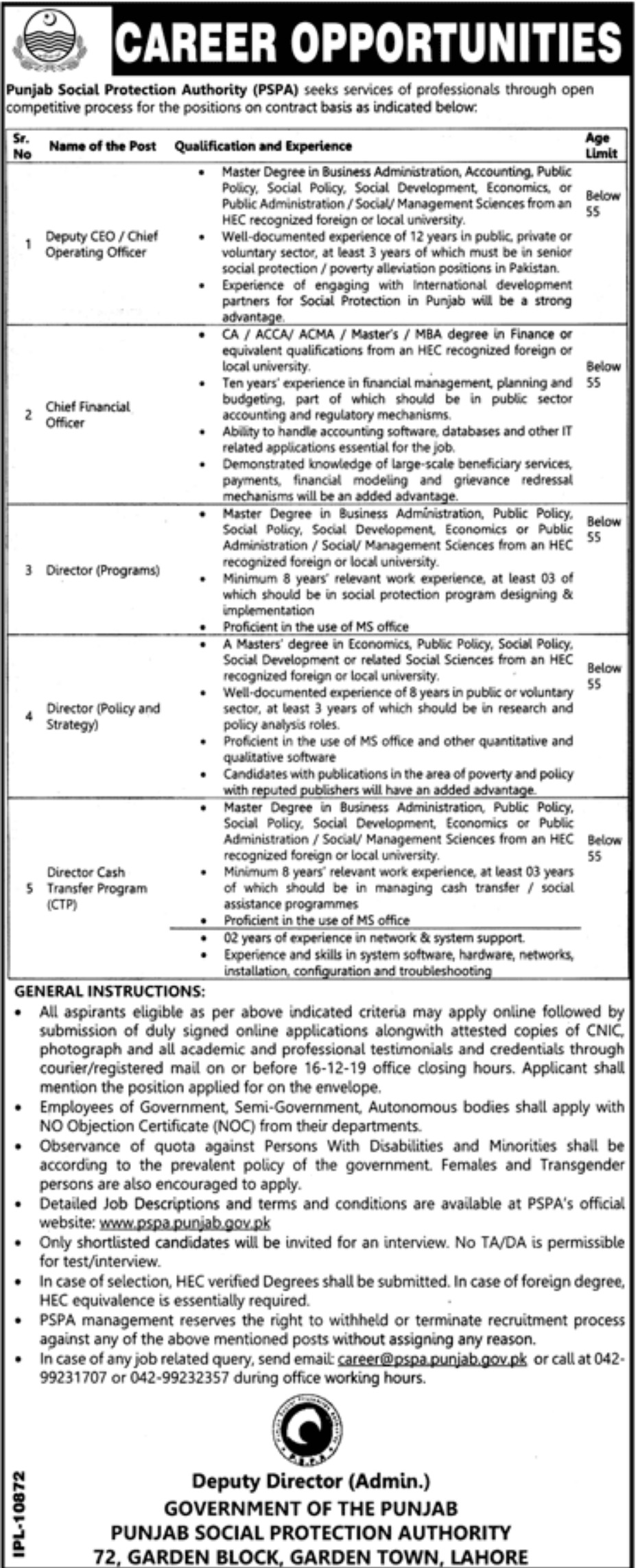 PSPA Jobs 2019 Punjab Social Protection Authority