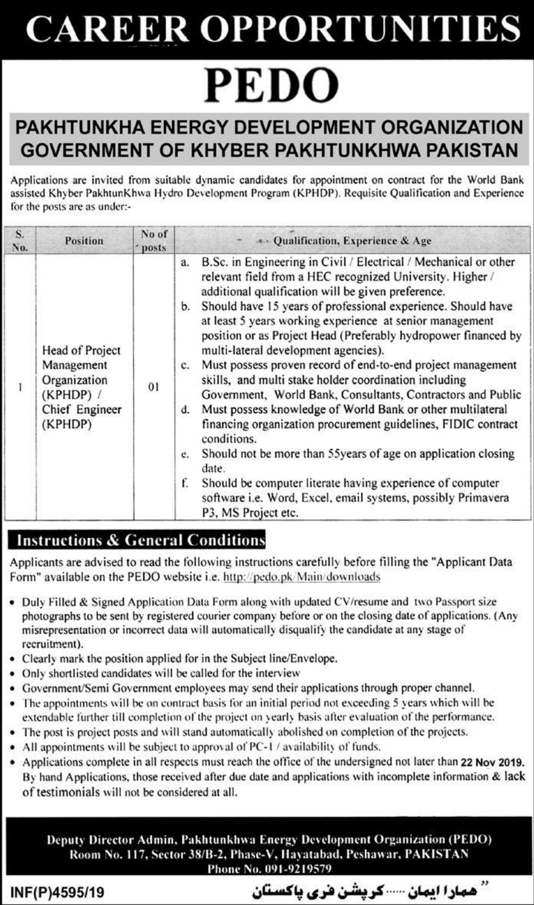 Pakhtunkhwa Energy Development Organization PEDO Jobs 2019 KPK