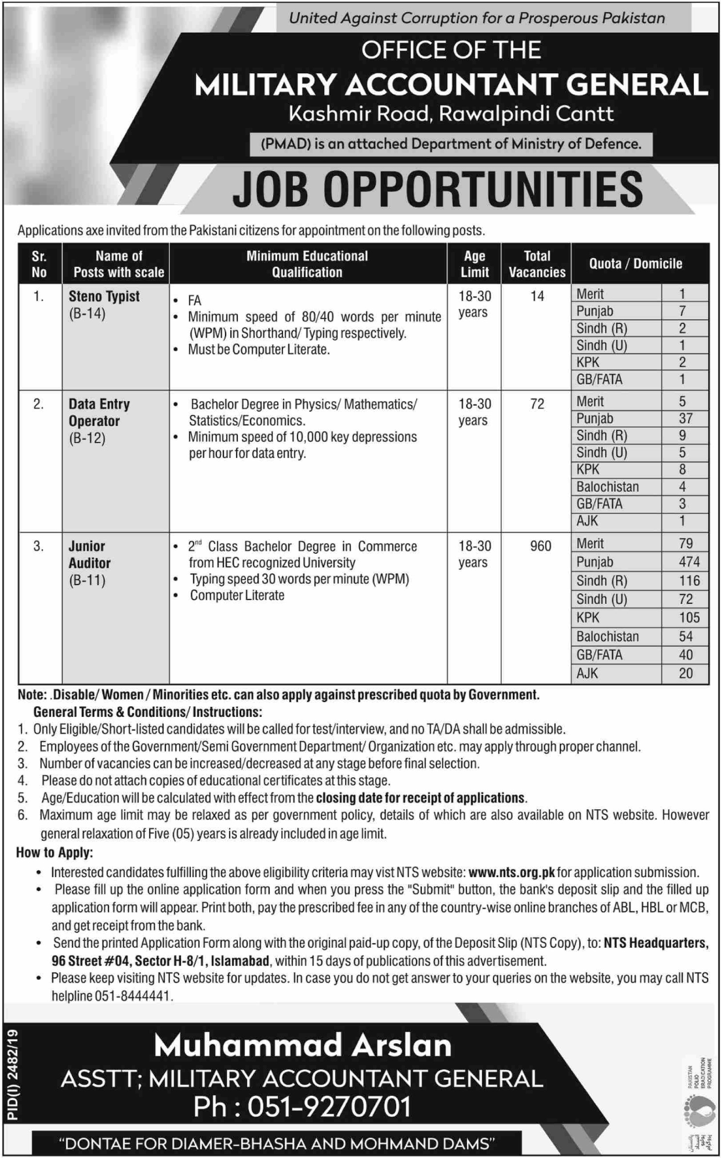 Pakistan Military Accounts Department PMAD Jobs 2019 for Junior Auditor