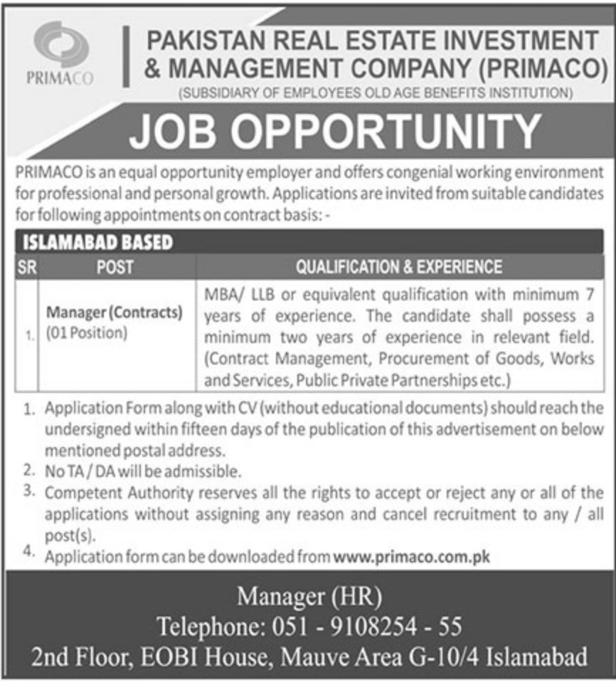 Pakistan Real Estate Investment & Management Company PRIMACO Jobs 2019
