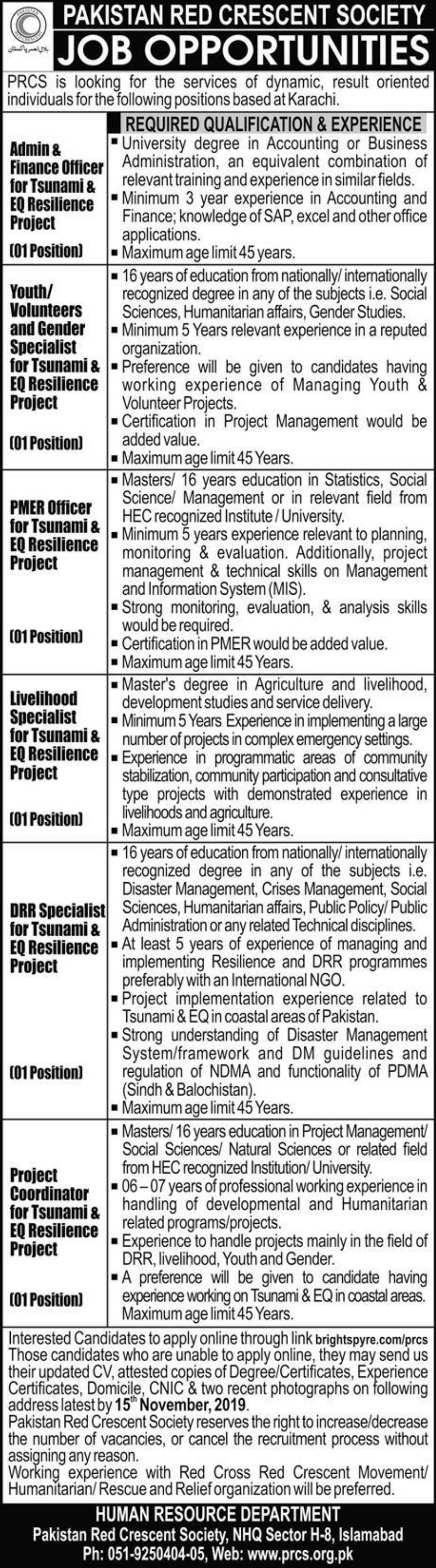 Pakistan Red Crescent Society PRCS Jobs 2019 KarachiPakistan Red Crescent Society PRCS Jobs 2019 Karachi