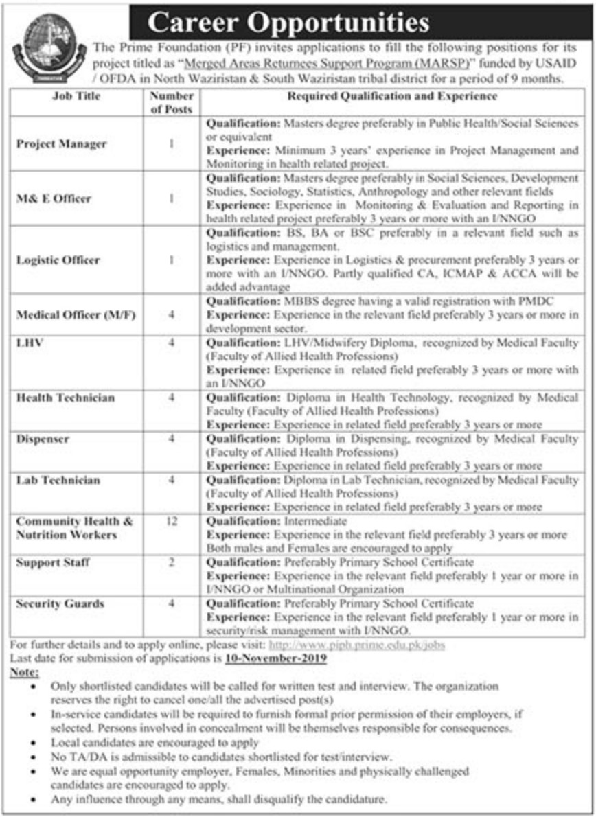 Prime Foundation Jobs 2019 USAID KPK