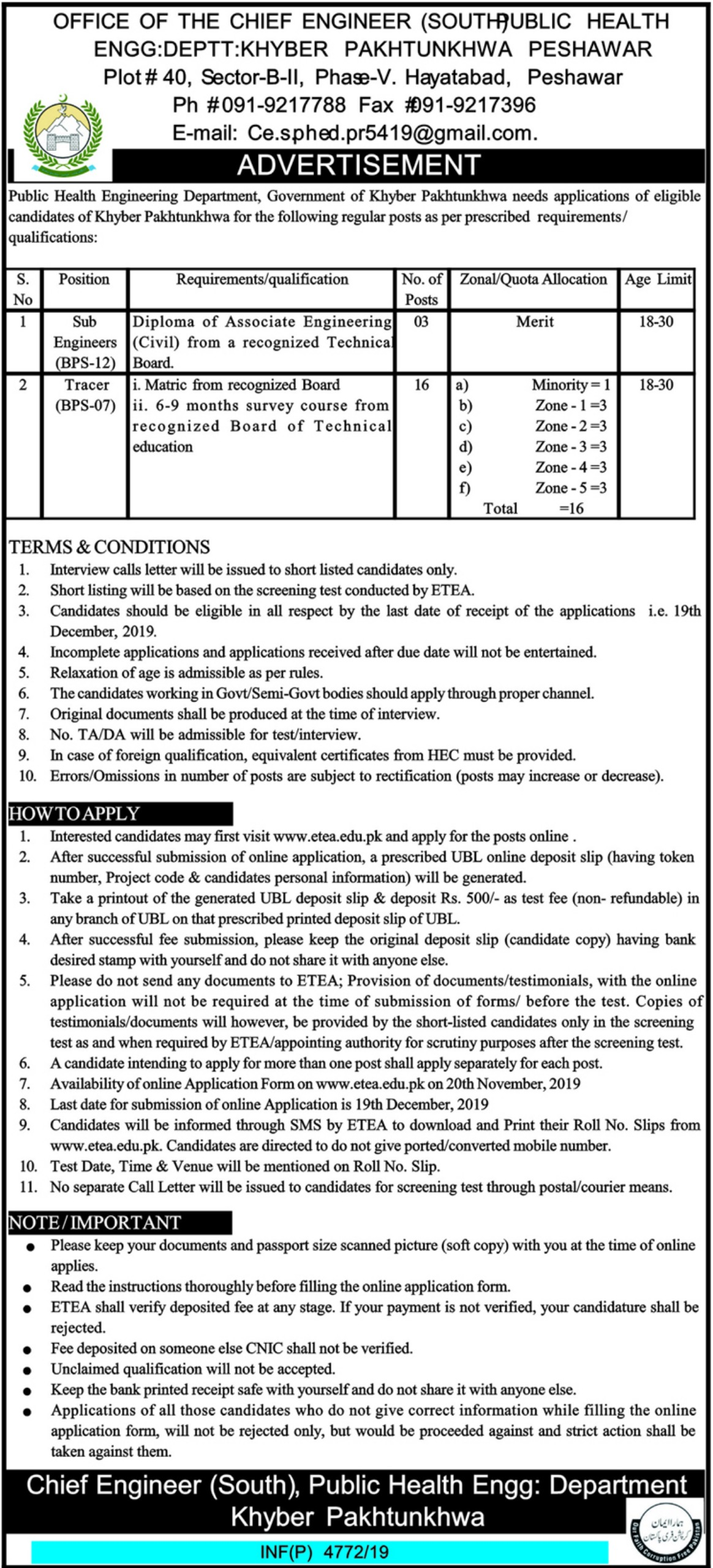 Public Health Engineering Department PHED KPK Jobs 2019