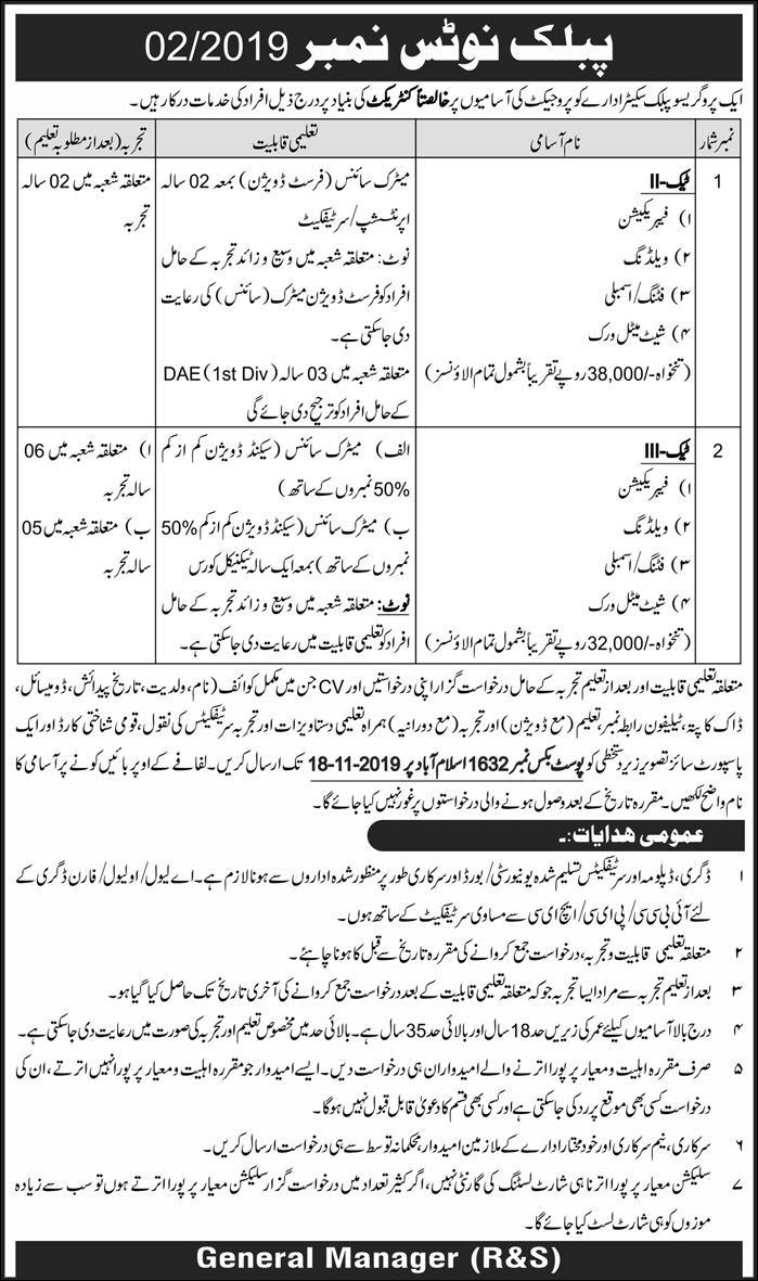 Public Sector Organization Jobs 2019 P.O.Box 1632 Islamabad