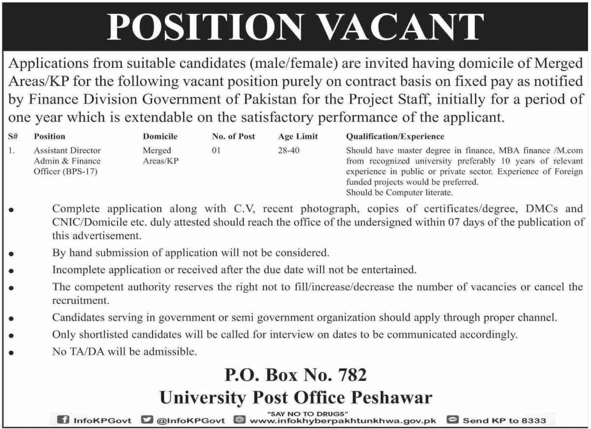 Public Sector Organization Jobs 2019 P.O.Box 782 Peshawar