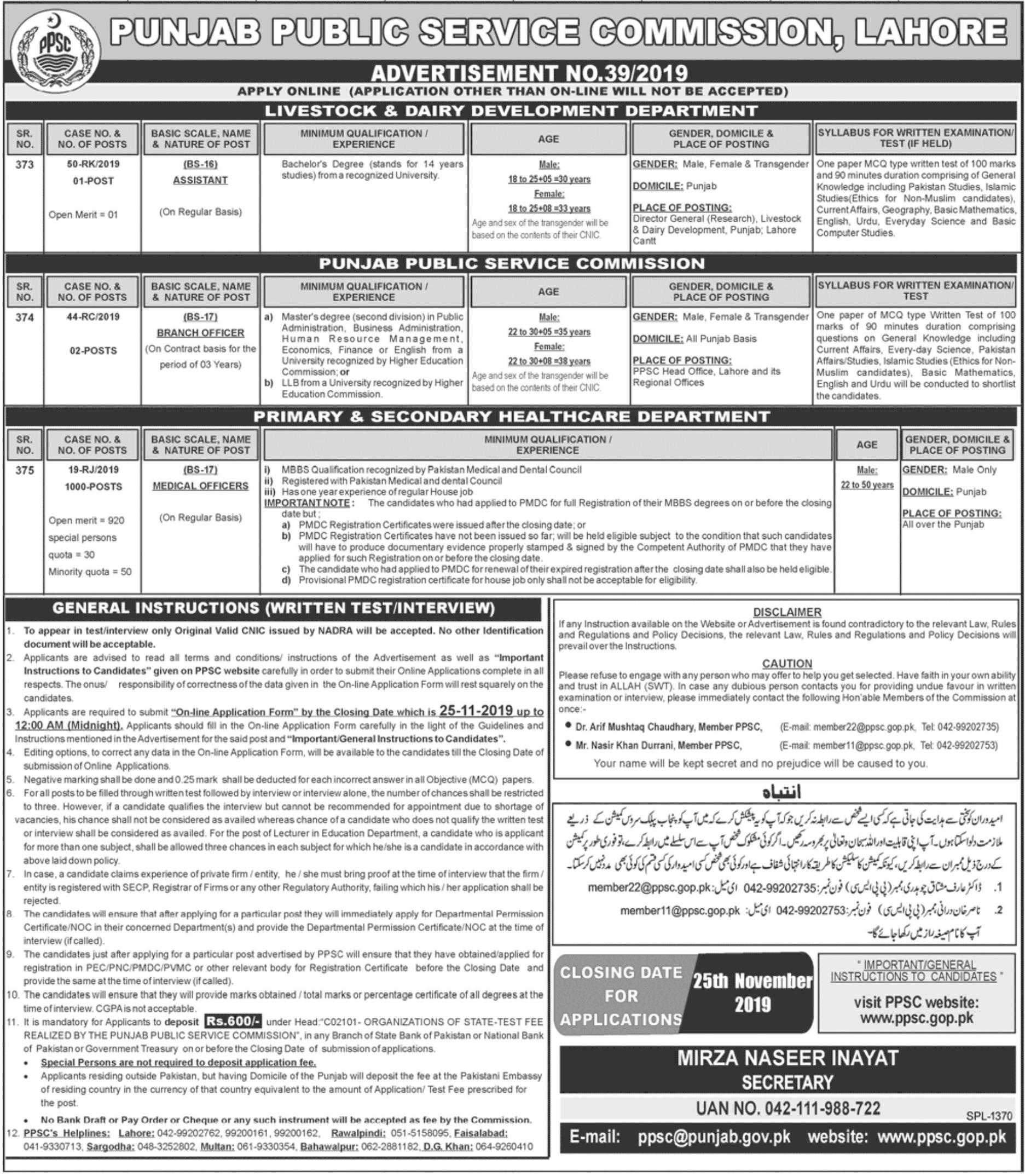 Punjab Public Service Commission PPSC Jobs 2019 Medical Officer