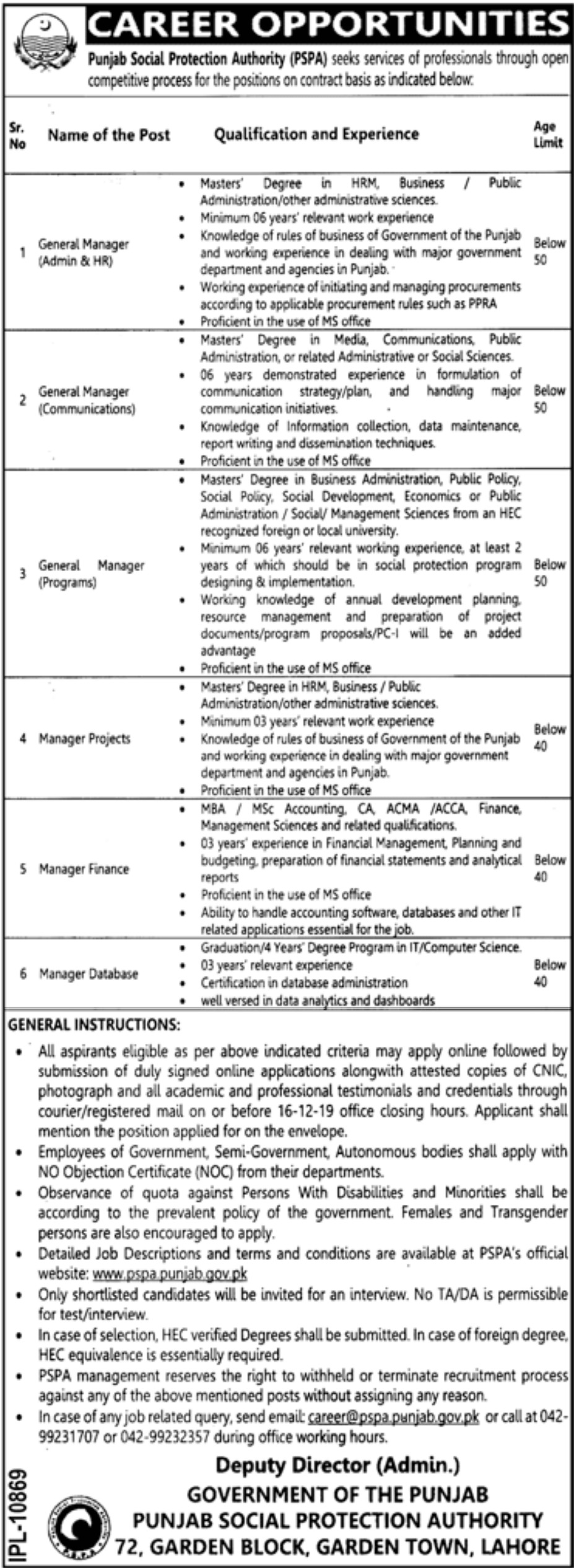 Punjab Social Protection Authority PSPA Jobs 2019