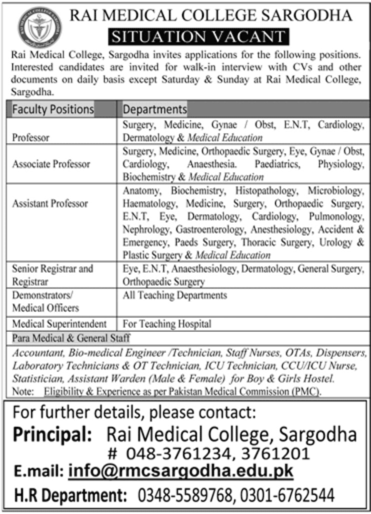 Rai Medical College Sargodha Jobs 2019