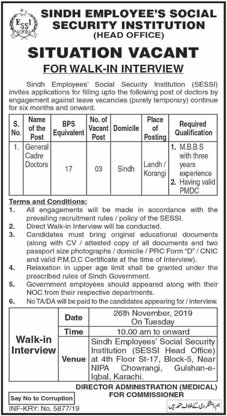 SESSI Jobs 2019 Sindh Employees Social Security Institution