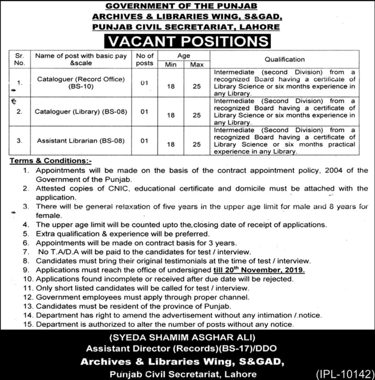 S&GAD Punjab Civil Secretariat Lahore Jobs 2019