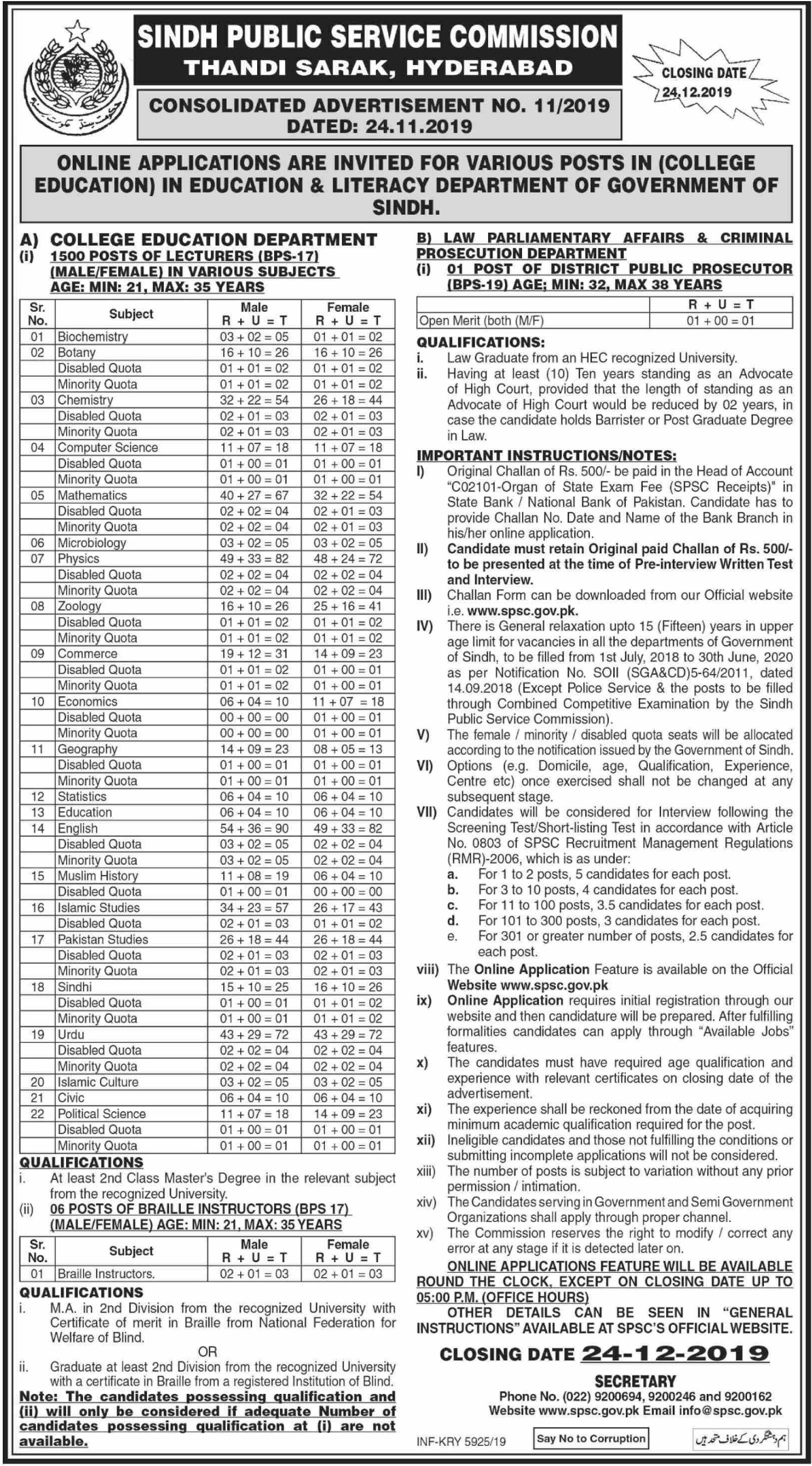 SPSC Jobs 2019 Sindh Public Service Commission
