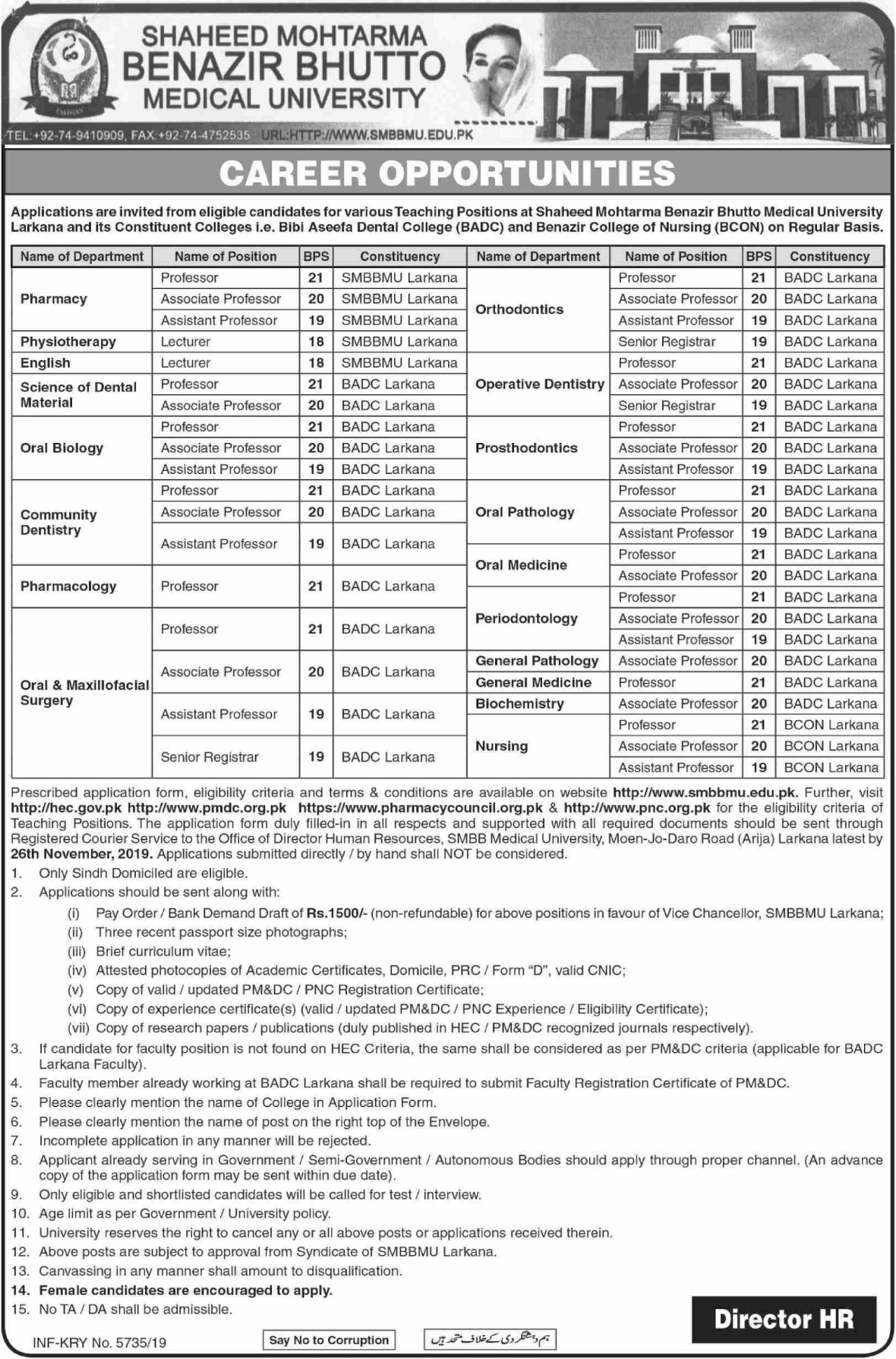Shaheed Mohtarma Benazir Bhutto Medical University SMBBMU Jobs 2019 Sindh