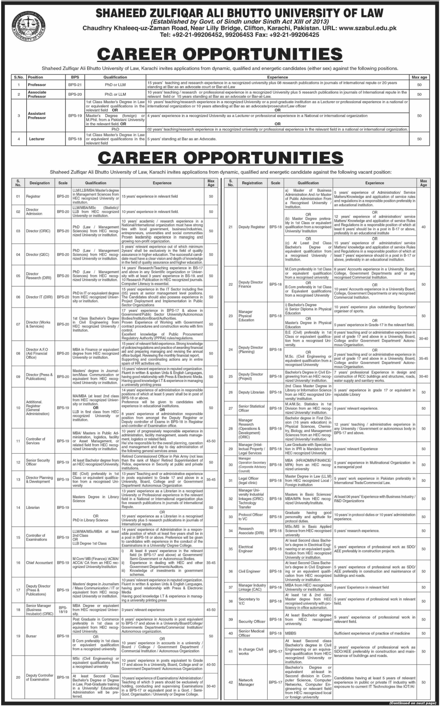 Shaheed Zulfiqar Ali Bhutto University of Law SZABUL Karachi Jobs 2019