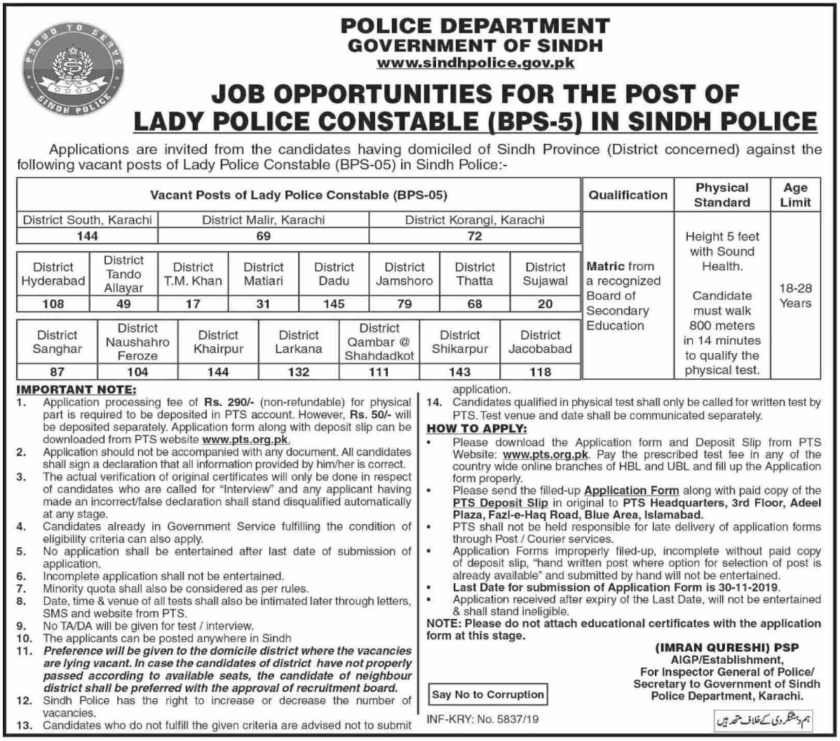 Sindh Police Jobs 2019 Lady Police Constable