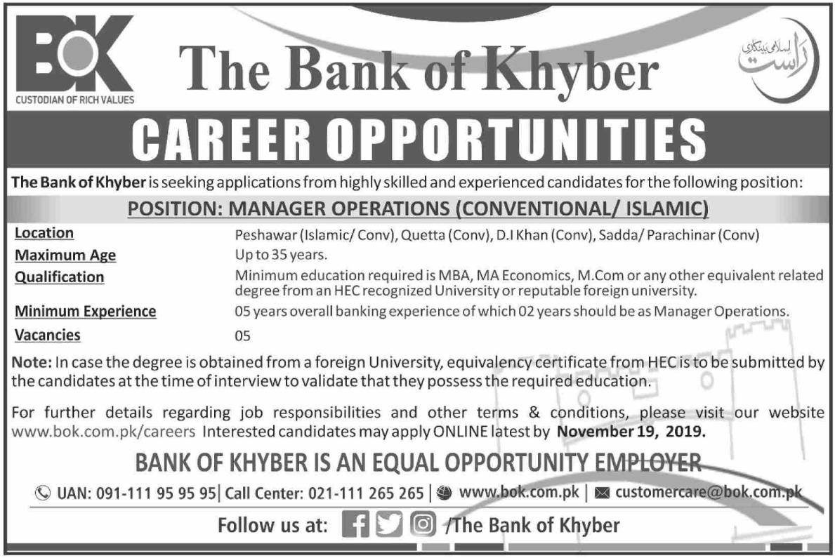 The Bank of Khyber Jobs 2019 KPK