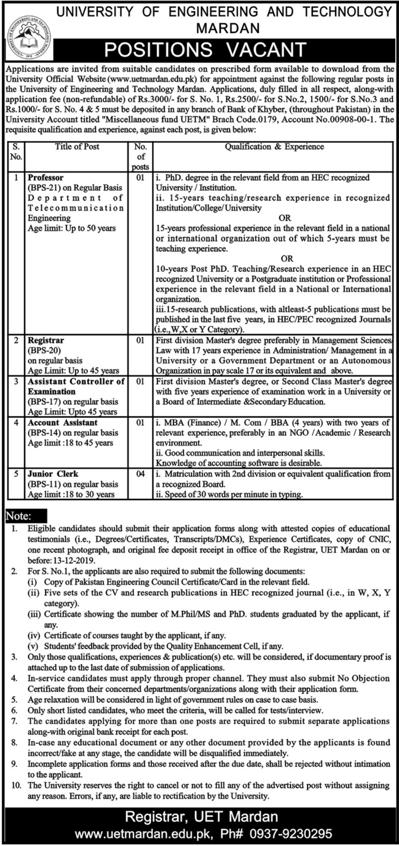UET Mardan Jobs 2019 University of Engineering & Technology
