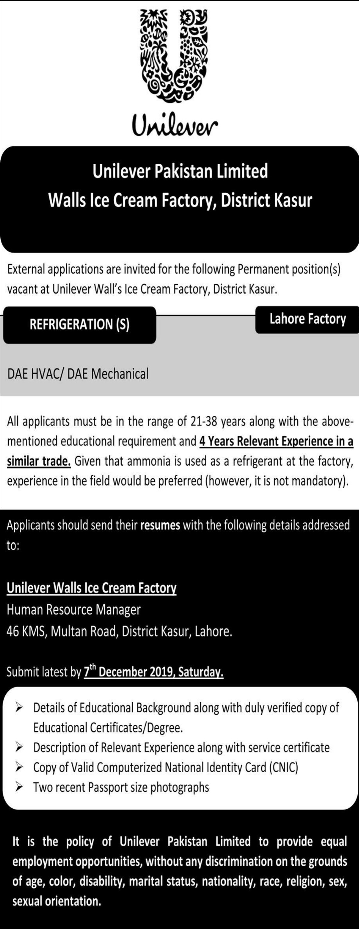 Unilever Pakistan Limited Jobs 2019