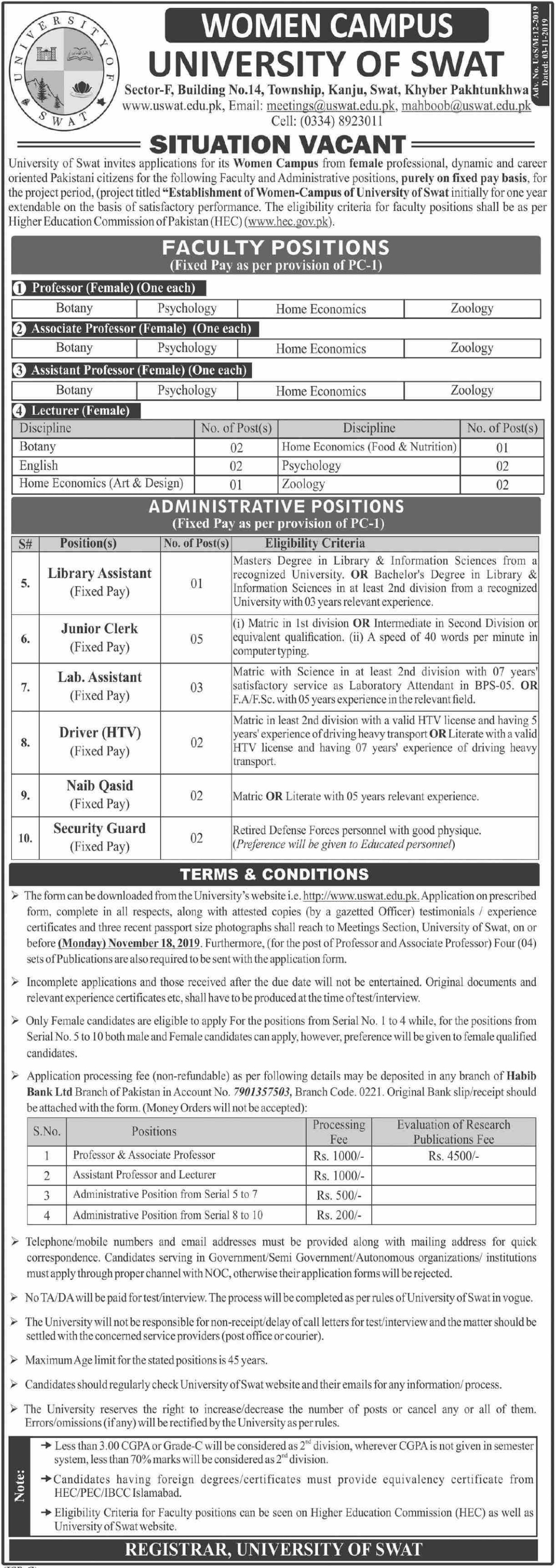 University of Swat Jobs 2019 Women Campus
