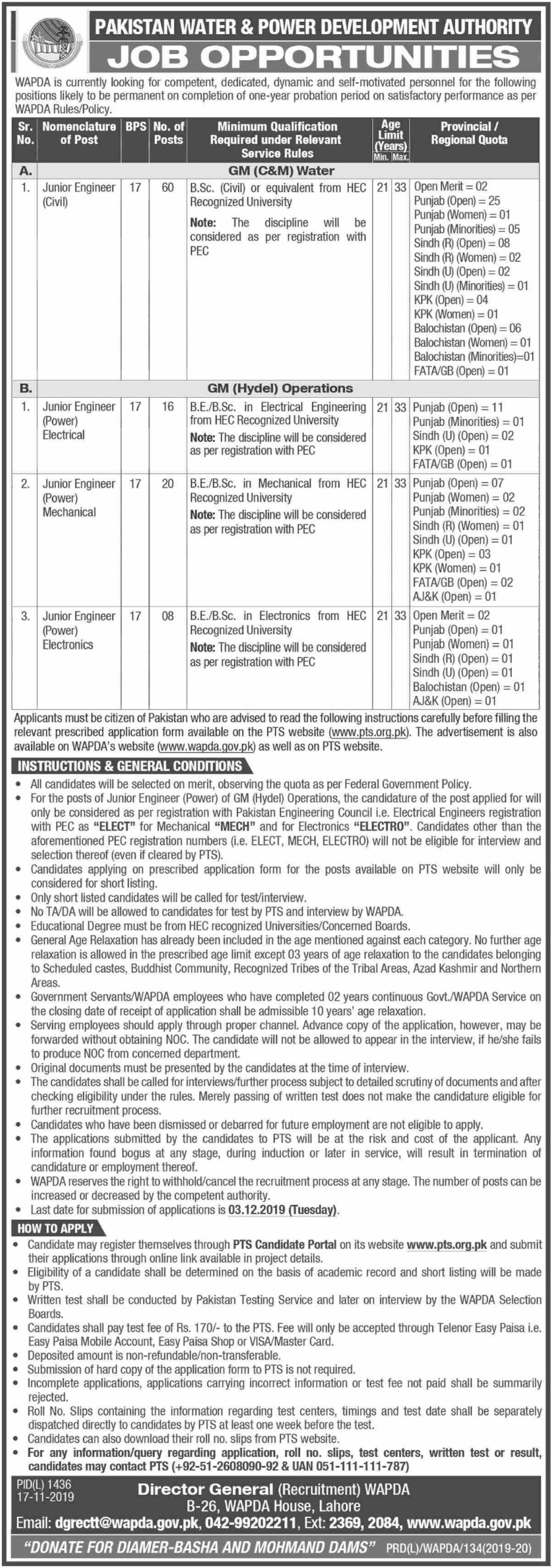 Wapda Junior Engineer Jobs 2019 Pakistan Water & Power Development Authority