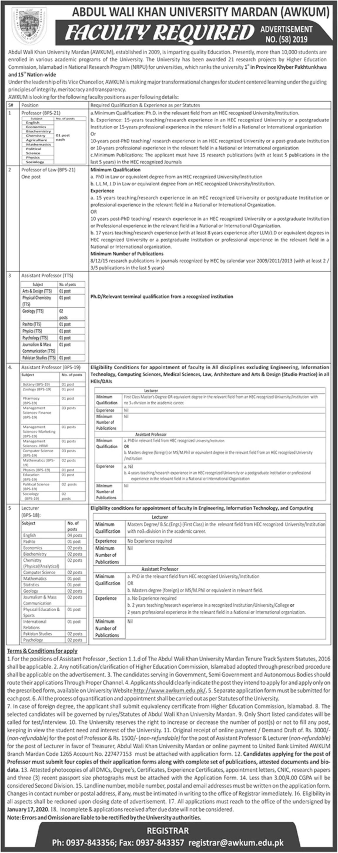 Abdul Wali Khan University Mardan AWKUM Jobs 2020