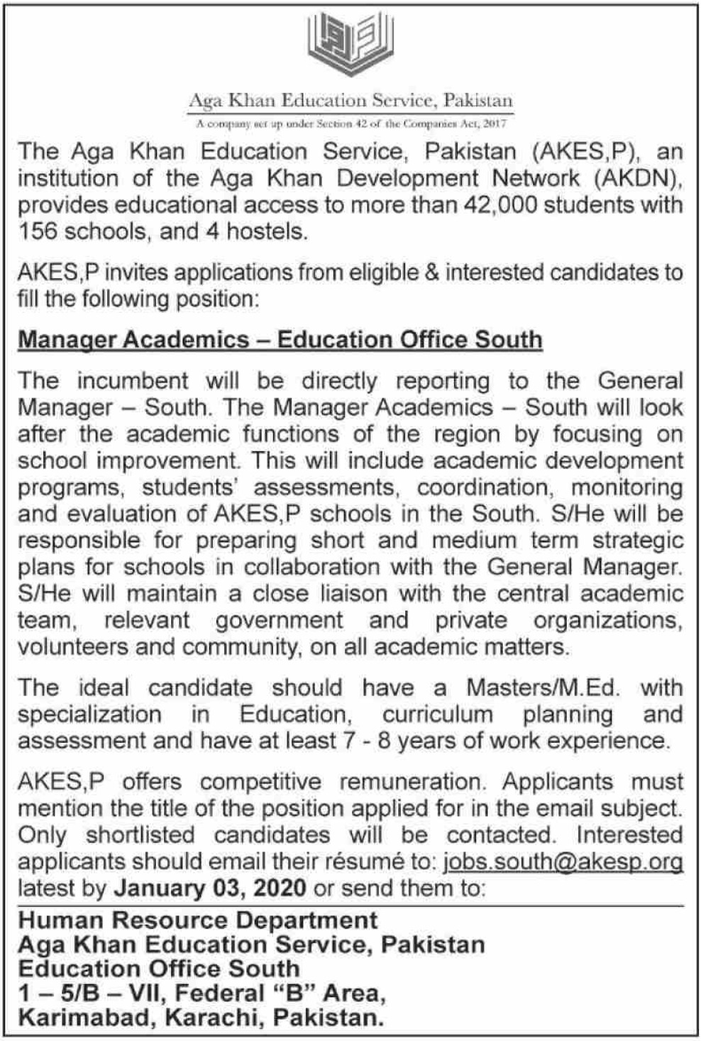Aga Khan Education Service Pakistan Jobs 2019