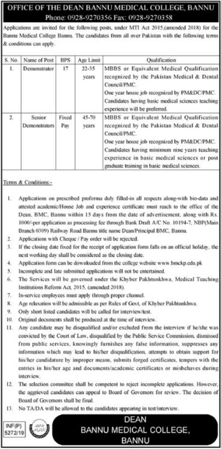 BMC Bannu Jobs 2019 Bannu Medical College