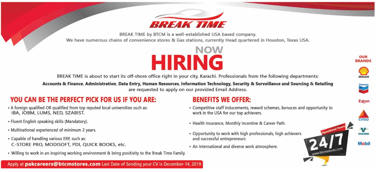 Break Time Jobs 2019 UK Based Company