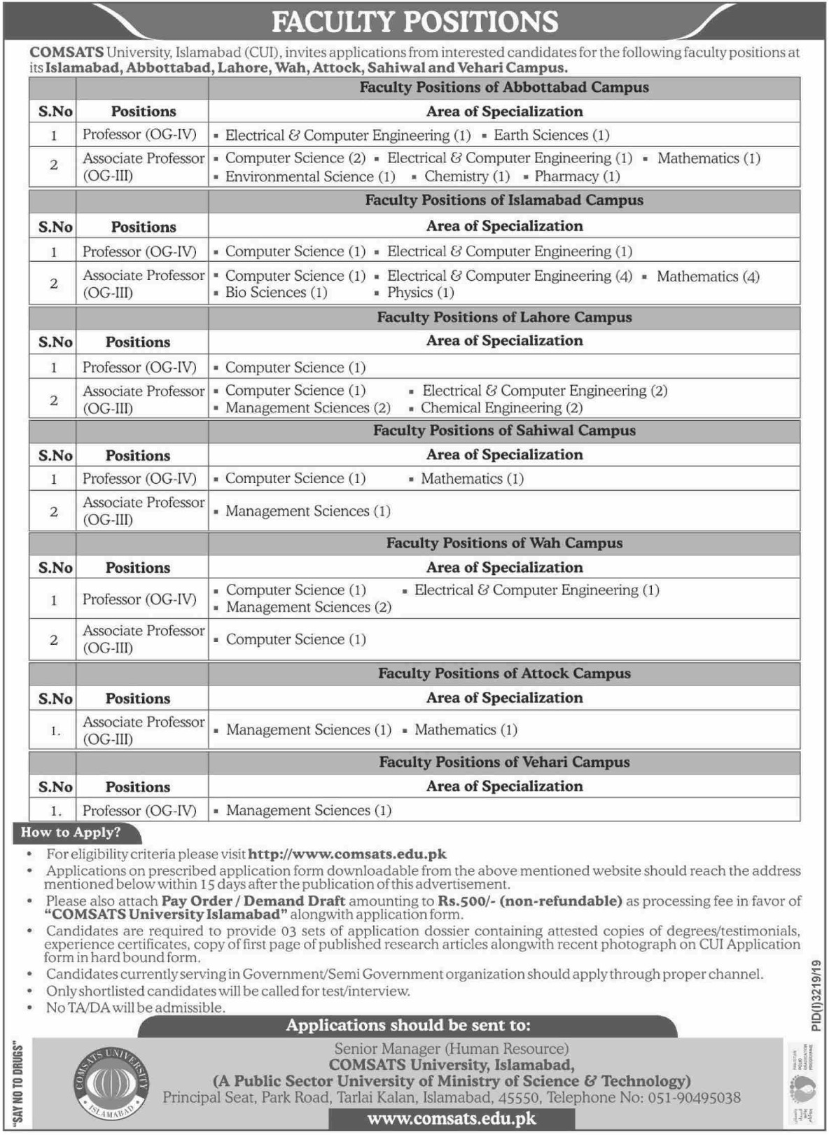 COMSATS University Islamabad CUI Jobs 2019