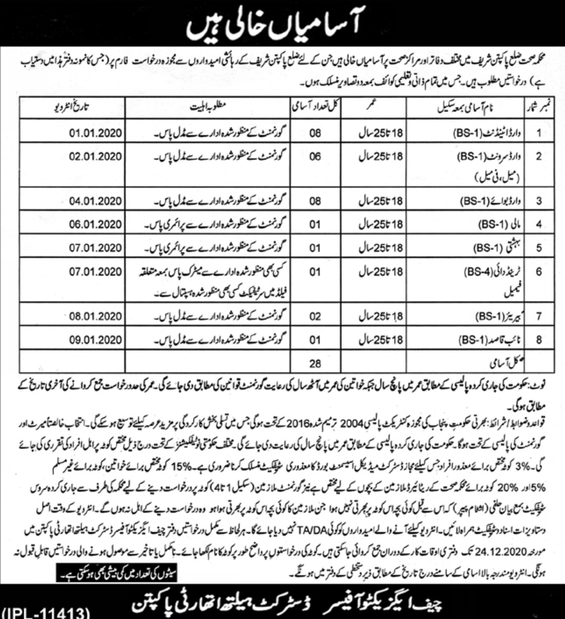 District Health Authority Pakpattan Sharif Jobs 2019