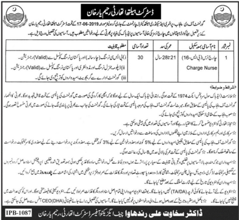 District Health Authority R.Y. Khan Jobs 2019 Charge Nurse