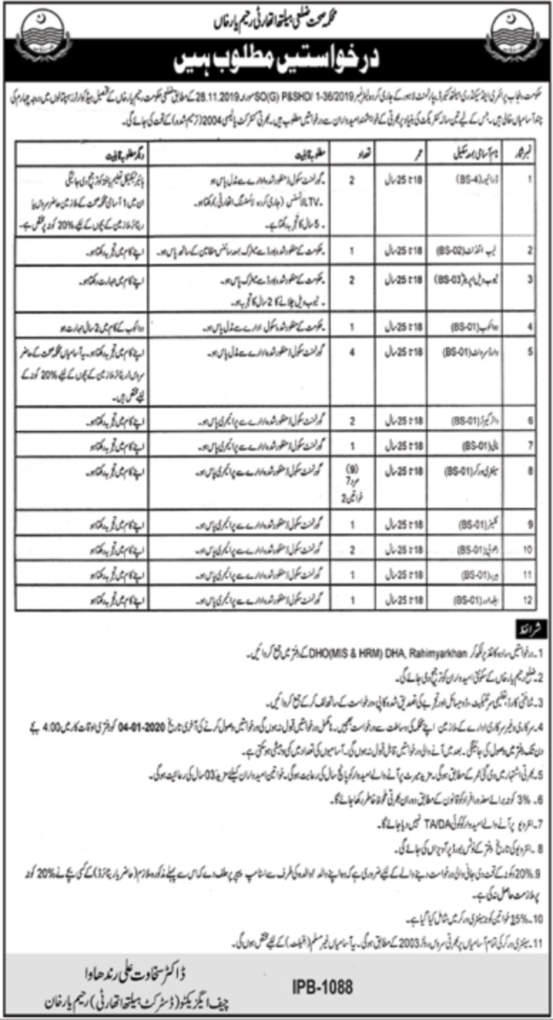 District Health Authority R.Y. Khan Jobs 2019