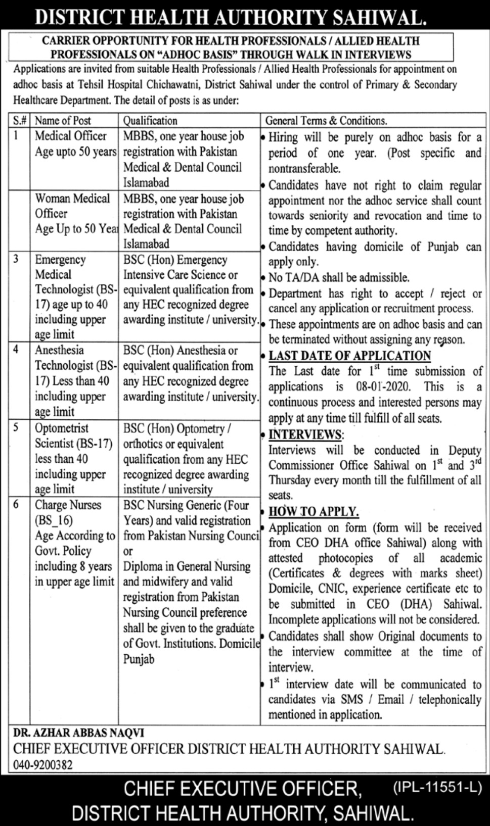 District Health Authority Sahiwal Jobs 2019